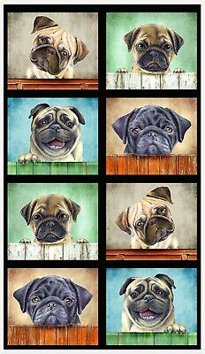 Pug Pals Quilt Panel * Whiskers & Tails * So Cute * Free Post *