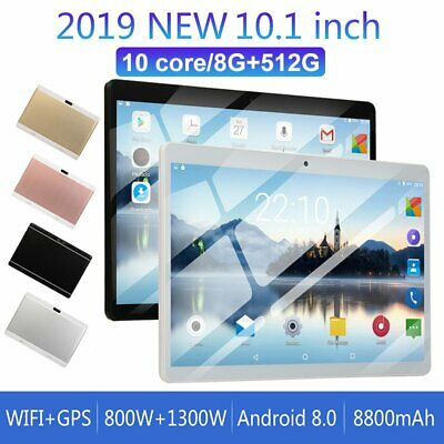 10.1'' Tablet 8G+512G Android 8.0 Bluetooth WiFi PC Dual Camera GPS Game Phablet