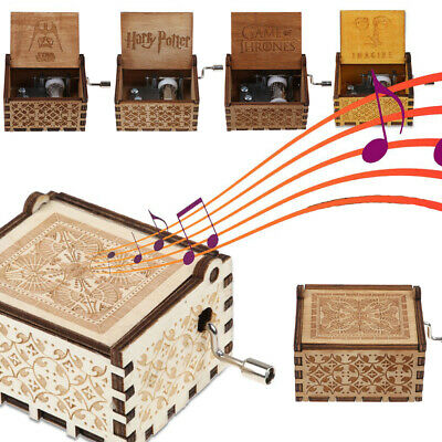 Retro Wooden Music Box Craft Hand Crank Engraved Birthday Gift Xmas Toys