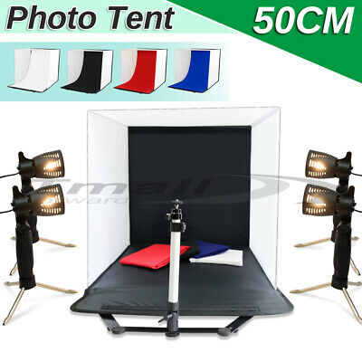 50CM Large Photography Softbox Light Tent Stand Cube Soft Box 4x Lamp Backdrop