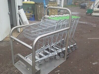 supermarket shopping trolleys and parking bay