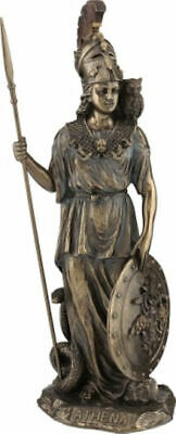 Ancient Greek Goddess Athena Minerva with spear, shield, owl Bronze statue 11.6'