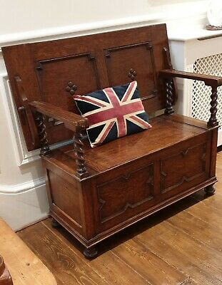 antique Arts and Crafts monks bench hall settle