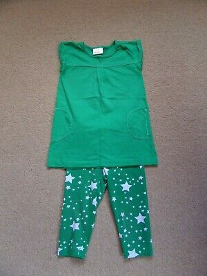 GORGEOUS Girl's HANNA ANDERSSON Outfit Age 4 Tunic Top & Crop Leggings Green