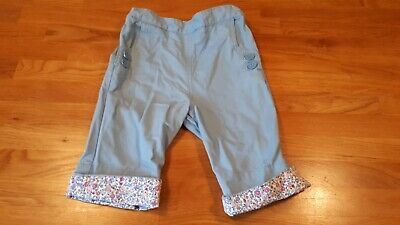jojo maman bebe girls 2-3 years blue clam digger cropped trousers