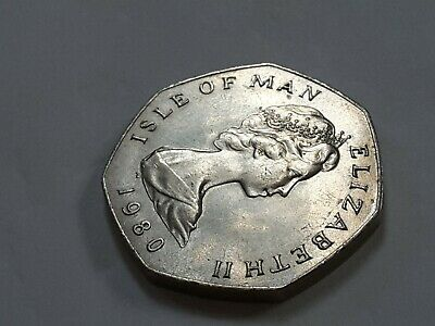 1980 50 pence coin (ref 1) Isle of Man Long Boat rare