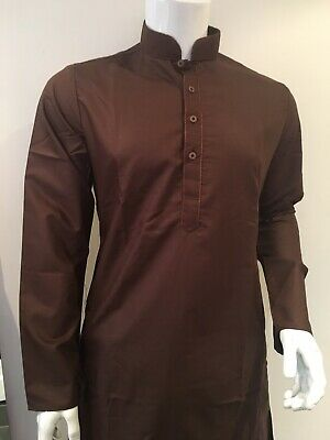 Shalwar Kameez Mens Plain Band Collar Brawn Sizes XL, L, M, S, XS