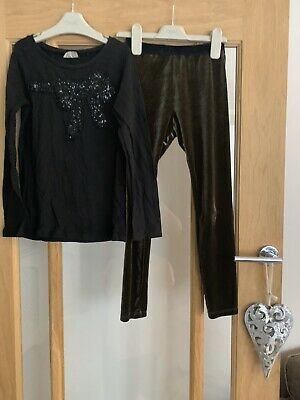 Next Girls Outfit Age 8 Years Xmas Winter - Black Top & Velour Leggings