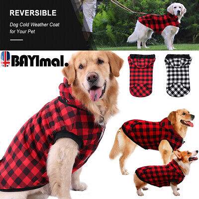 Pet Dog Winter Warm Thicker Coat Jacket Hooded Plaid Outfit Vest Apparel Clothes