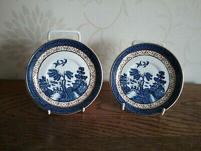 2 saucers for coffee cans Antique Booths Real Old Willow A8025 Cup