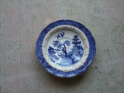 Antique Silicon china saucer Booths Real Old Willow Patt no 9072 gilded