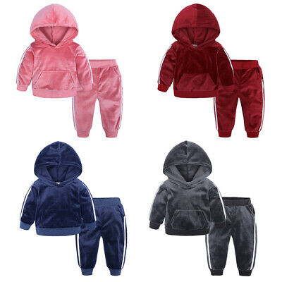2Pcs Set Kids Fleece Clothes Boys Girls Soft Tops & Pants Casual Sports 1-7Years