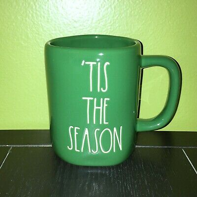 "New RAE DUNN Holiday Christmas LL ""'TIS THE SEASON"" Green Mug By Magenta"