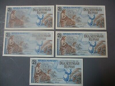 1961  Indonesia 2.5 Rupiah  lot of 5 UNC sequence banknotes