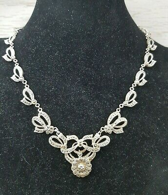 Vintage Art Deco Czech Flower Bow Marcasite Detailed Necklace Faerie Kei Style