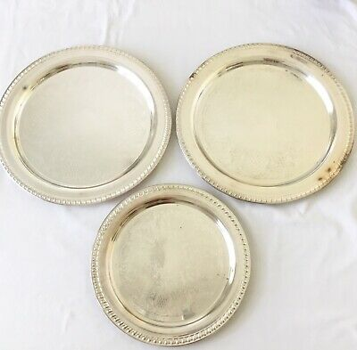 LEONARD Silverplated Round Etched Serving Trays LOT of 3 Vintage 1970's