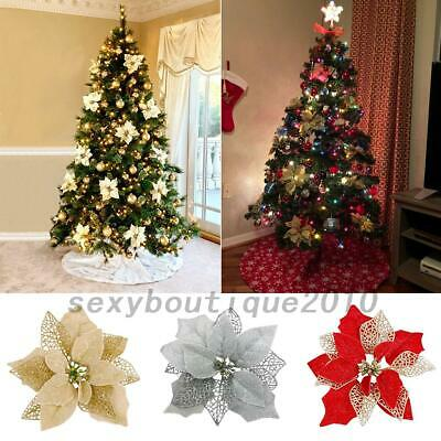 Glitter Poinsettia Christmas Tree Ornaments Artificial Flower Wedding Party T5C6