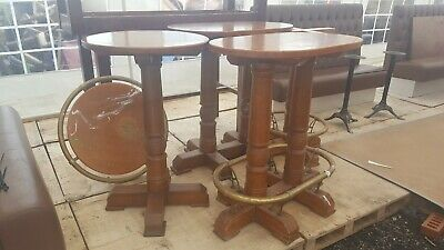 Exceptional single pedestal poser table with brass.  Suit pub, bar, hotel etc