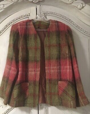 Andrew Stewart Women L Plaid Rose And Sage Mohair Jacket w/Pockets! Fantastic!