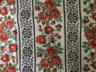 Vintage 50s Spanish Fabric Lightweight Cotton Roses Design