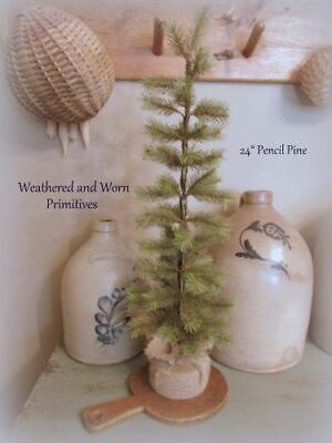 "Primitive Country 24"" Pencil Pine Christmas Tree with Burlap Base"