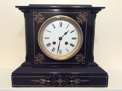 A Stunning French Black Slate & Marble Mantel Clock c1880