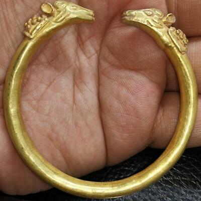 Ancient High Carat  Gold Roman Bracelet with Horse Heads 23 grams # 50