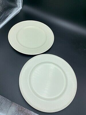 "Wedgwood EDME Set 2 Dinner Plates 10 3/8"" Cream Vintage England Impressed Marks"