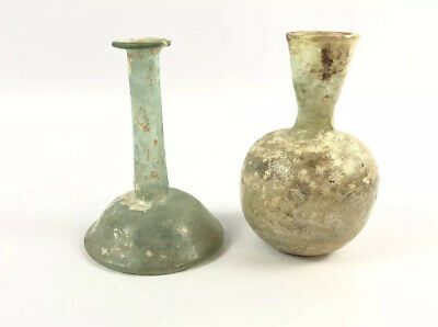 Antique Roman Glass Bottles Early Pair FINE thin glass Ancient Antiquity