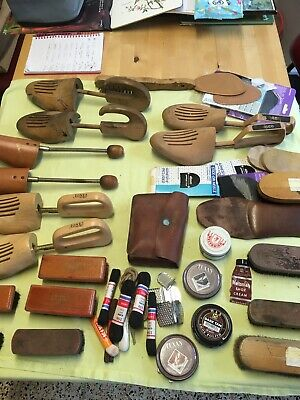 vintage Shoe Lasts, Vintage Shoe Cleaning Brushes With Shoe Repair Items