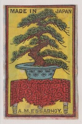 Old Matchbox Label Japan For India , Bonsai Tree, A.m.essabhoy