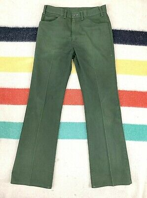 Vintage 70's Levi's 517 Big E Green Sta Prest Pants Jeans Sz 31x31 Distressed #4