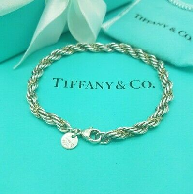 """Tiffany & Co Twist 18K Yellow Gold and Silver Rope Bracelet 7.5"""" UK Hallmarked!"""