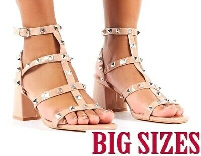 Womens Ladies Rockstud Ankle Strap Block Mid Heel Sandals Shoes BIG SIZES