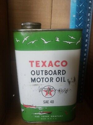 TEXACO MOTOR OIL QT CAN OUTBOARD AUTHENTIC Vintage Empty BOAT GRAPHICS SAE 40