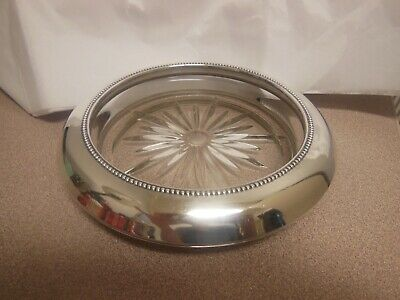 """Frank M. Whiting Sterling Silver Beaded Rim Crystal Glass 6 5/8"""" Wine Coaster"""