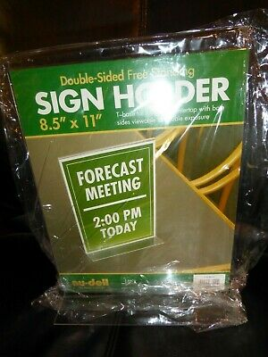 Nudell Clear Plastic Sign Holder Double Sided Free-Standing 8.5 x 11""