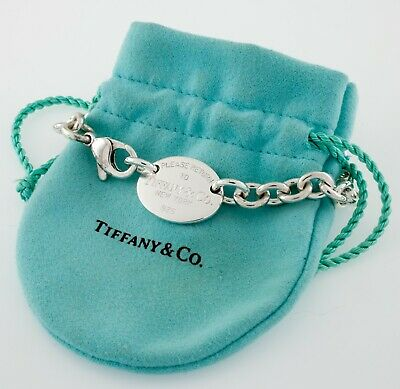 """Tiffany & Co. Sterling Silver """"Return to"""" Oval Charm Necklace w/ Pouch"""