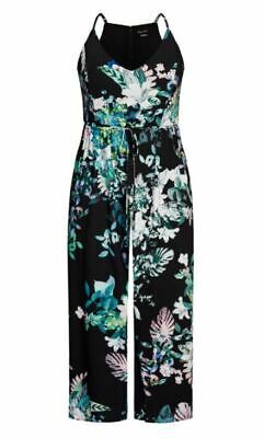 City Chic Ladies Sleeveless Lush Floral Jumpsuit sizes 14 16 18 20 22 Black