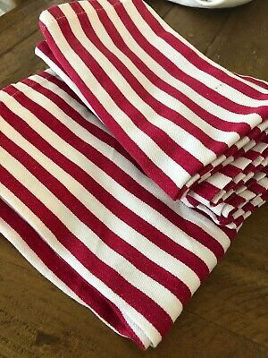 Set Of 8 Red & White Cloth Napkins