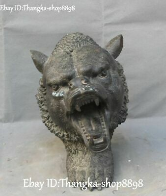 "11"" Old China Ancient Bronze Ware Fengshui Tiger Downhill tiger Head Statue"