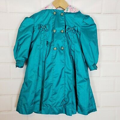 Rothschild Girls Vintage Blue Green Hooded Windbreaker Trench Coat Size 3T