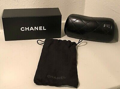 Authentic Chanel Black Quilted CC Sunglass Glasses Hard Shell Case With Box