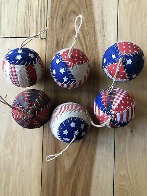 Primitive Rag Ball Christmas Ornaments Bowl Fillers Set Of 6