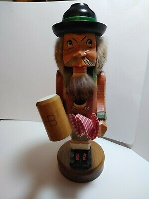 """Vintage 12"""" Hand Carved Wooden  HB NUTCRACKER WITH HB BEER STEIN GERMANY"""
