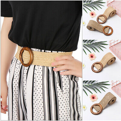 Round Wooden Buckle  Elastic Waist Chain Belly Necklace Body Jewelry Straw Belt
