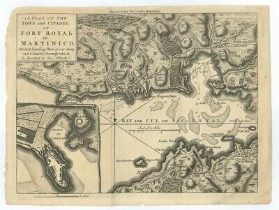 1762 Map of Martinico (Martinique) and Port Royal London Magazine