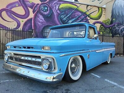 1964 Chevrolet C-10  1964 Chevy C10 bagged short bed fleet side pickup truck small window inline 6