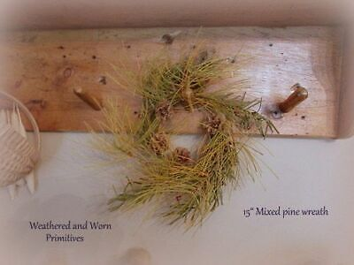 """Primitive Country 15"""" Mixed Greenery & Pine Boughs & Red Berry Christmas Wreath"""