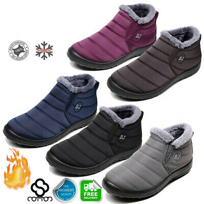 Women Men Winter Warm Shoes Snow Boots Fur-lined Slip On Ankle Shoes Waterproof